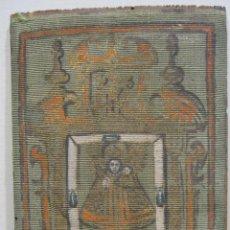 Arte: ANTIGUA PINTURA SOBRE SEDA RAYADA VERDE. IMAGEN DE LA VIRGEN CON EL NIÑO. 13,5 X 9 CM.. Lote 263140990