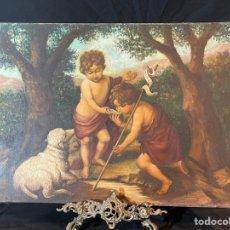 Arte: ÓLEO SOBRE LIENZO REPRODUCCIÓN DE CUADRO SE MURILLO JESÚS Y JUAN FIRMADO RABERBA 61X45CM. Lote 263228055