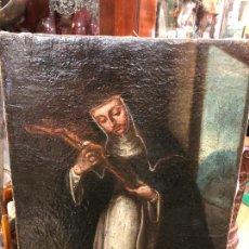 Arte: OLEO SOBRE LIENZO SIGLO XVIII IMAGEN RELIGIOSA - MEDIDA 53,5X42 CM -. Lote 263238240
