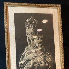 Arte: LÁMINA RELIGIOSA DE MARE DE DEU DE LA SALUT DE SABADELL 1950 32X58CM. Lote 263251590