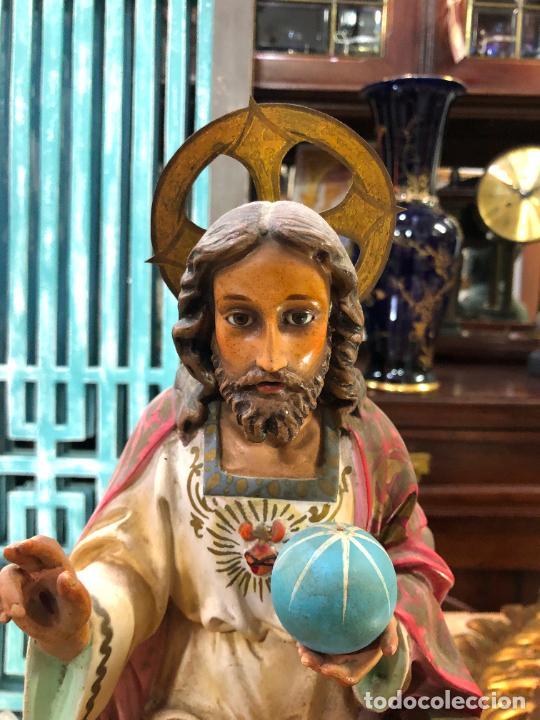 Arte: ANTIGUO CORAZON DE JESUS DE OLOT CON OJOS DE CRISTAL - MEDIDA 37,5 CM - RELIGIOSO - Foto 2 - 263258485