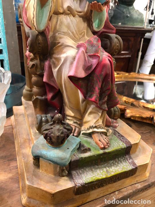 Arte: ANTIGUO CORAZON DE JESUS DE OLOT CON OJOS DE CRISTAL - MEDIDA 37,5 CM - RELIGIOSO - Foto 7 - 263258485