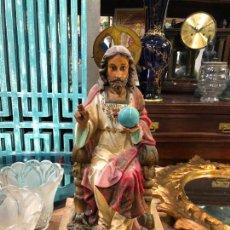 Arte: ANTIGUO CORAZON DE JESUS DE OLOT CON OJOS DE CRISTAL - MEDIDA 37,5 CM - RELIGIOSO. Lote 263258485