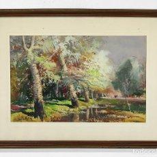 Arte: JOAN DE PALAU I BUXÓ ( FLAÇÀ 1919 - BANYOLES 1991) - ACUARELA - PAISAJE. Lote 263445960