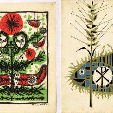 Arte: DUES LITOGRAFIES DE ROVIRA BRULL 1954 1960 MATARÓ NADALA I RECORD COMUNIÓ. Lote 263660695