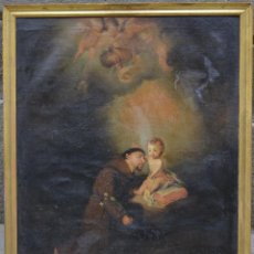 Arte: SAN FRANCISCO Y NIÑO JESÚS, PINTURA ANTIGUA, ÓLEO SOBRE TELA, CON MARCO. 94X75CM. Lote 263663925
