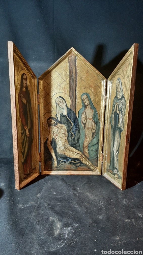 ANTIGUO TRIPTICO DE MADERA PINTADO HA MANO RELIJIOSO DE 48X25 (Arte - Arte Religioso - Retablos)