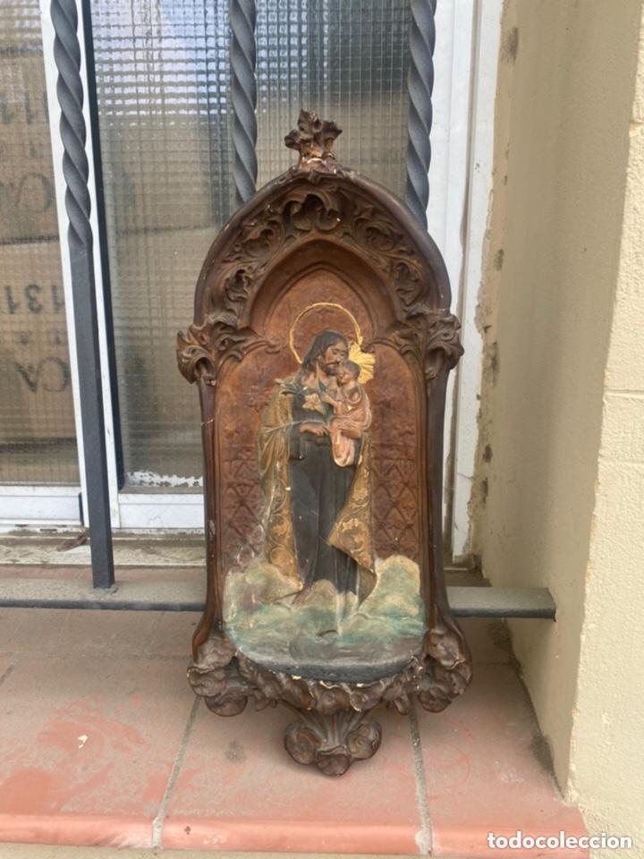 ANTIGUO RETABLO RELIGIOSO SAN JOSÉ CON NIÑO . ESTUCO . VER FOTOS (Arte - Arte Religioso - Retablos)
