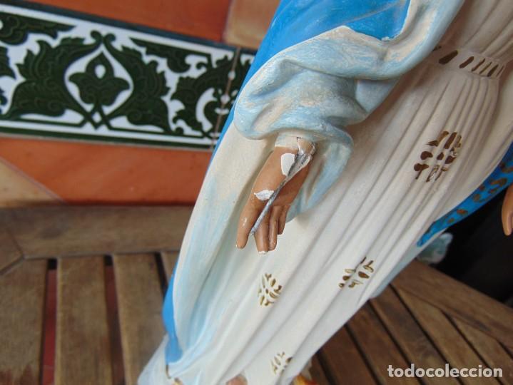 Arte: FIGURA EN ESTUCO POLICROMADO CON BASE DE MADERA NO ESTA SELLADO OLOT VIRGEN DE LA MEDALLA MILAGROSA - Foto 8 - 263736130