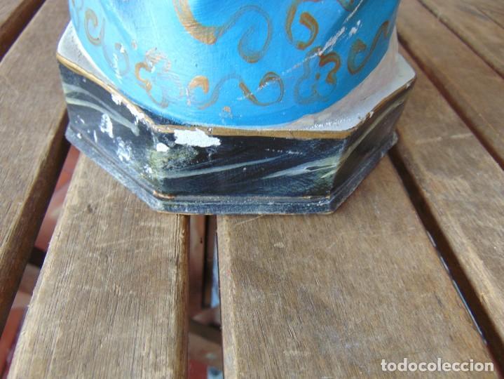Arte: FIGURA EN ESTUCO POLICROMADO CON BASE DE MADERA NO ESTA SELLADO OLOT VIRGEN DE LA MEDALLA MILAGROSA - Foto 16 - 263736130
