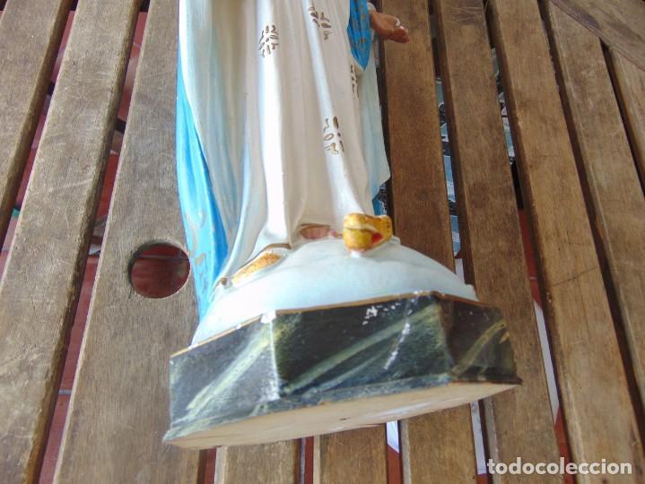 Arte: FIGURA EN ESTUCO POLICROMADO CON BASE DE MADERA NO ESTA SELLADO OLOT VIRGEN DE LA MEDALLA MILAGROSA - Foto 21 - 263736130
