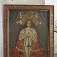 Arte: VIRGEN INMACULADA DE PERU - OLEO SOBRE LIENZO PEGADO EN TABLEX. Lote 263775735