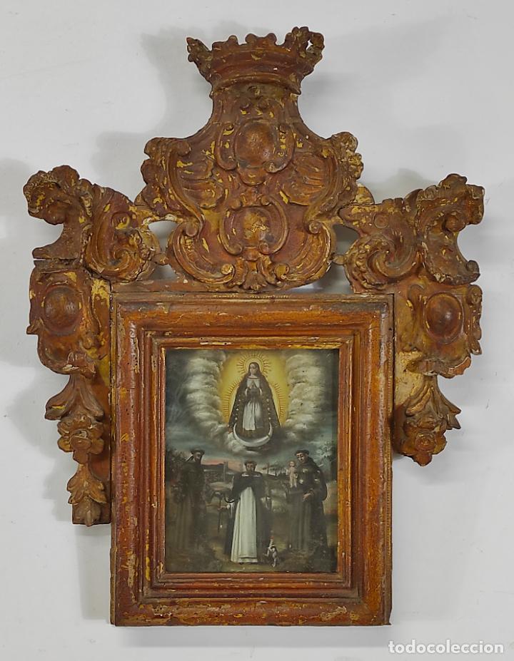 ÓLEO SOBRE COBRE - VIRGEN DE GUADALUPE - MARCO BARROCO - TALLA DE MADERA DORADA - S. XVII (Arte - Arte Religioso - Pintura Religiosa - Oleo)