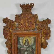 Art: ÓLEO SOBRE COBRE - VIRGEN DE GUADALUPE - MARCO BARROCO - TALLA DE MADERA DORADA - S. XVII. Lote 264020725