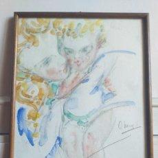 Arte: INTERESANTE PINTURA ANGELES QUERUBINES FIRMADO, PINTOR PROBABLEMENTE ITALIANO. Lote 264106345