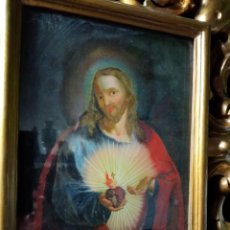 Arte: PINTURA ANTIGUA RELIGIOSA SIGLO XVIII,PINTADA BAJO CRISTAL,MARCO TALLADO MADERA. Lote 264129660