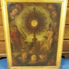 Arte: PRECIOSO ÓLEO ORIGINAL SIGLO XVIII.CUSTODIA EUCARÍSTICA, SAN LORENZO Y SAN SEBASTIÁN.. Lote 264183964