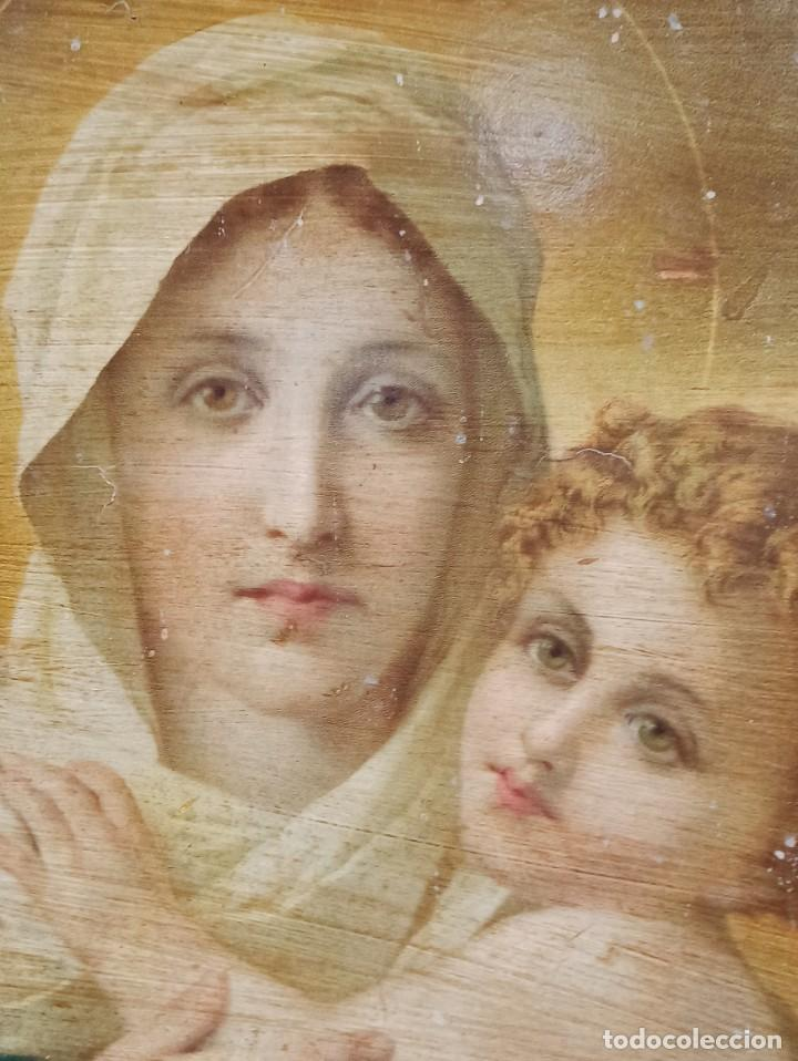Arte: Santa María Madre. Papel sobre tela. Firmado. PF - Foto 2 - 264304104