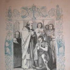 Arte: GRABADO RELIGIOSO - SAN SILVESTRE - AÑO 1852 - AÑO CRISTIANO - 17.50 X 26 CM - IMAGEN 12 X 17 CM. Lote 264310188