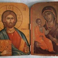 Arte: ICONO DE CRISTO Y VIRGEN CON NIÑO JESUS. AÑOS 70. ROGAMOS LEER BIEN LAS CONDICIONES ANTES DE PUJAR.. Lote 264326220