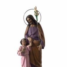 Arte: SAN JOSÉ Y NIÑO JESUS DE ESTUCO POLICROMADO. OLOT?. Lote 265112674