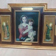 Arte: TABLA TRÍPTICO. VIRGEN MARÍA CON NIÑO JESÚS. ÁNGELES.AR. Lote 265155224