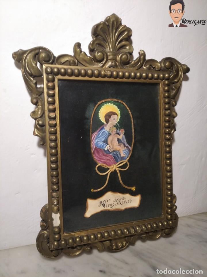 CUADRO VIRGEN MARÍA CON NIÑO JESÚS (VIRGO MARIAE) PINTADO A MANO - OLOT - VIUDA DE JUAN ARMENGOL (Arte - Arte Religioso - Pintura Religiosa - Otros)