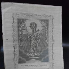 Arte: SIGLO XIX GRABADO RELIGIOSO VIRGEN NUESTRA SEÑORA DE LA PAZ DE PUEBLANUEVA DE TOLEDO MARÉ RELIGION. Lote 265320649