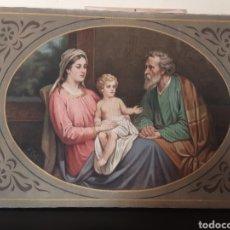 Arte: CUADRO ANTIGUO IMAGEN DE LA VIRGEN MARIA, SAN JOSÉ Y EL NIÑO JESÚS.. Lote 265433909