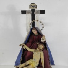 Arte: VIRGEN DOLOROSA CAP Y POTA CON CRISTO YACENTE - TALLA DE MADERA POLICROMADA - S. XIX. Lote 265448899