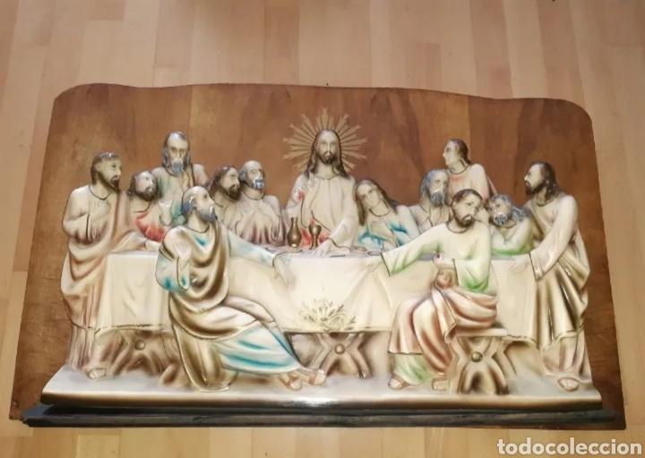 RETABLO RELIGIOSO CON LA ESCENA DE LA ÚLTIMA CENA REALIZADA EN ESCAYOLA/ESTUCO. VER DESCRIPCION (Arte - Arte Religioso - Retablos)