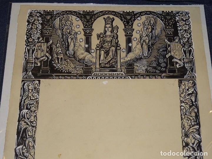 (M) DIBUJO ORIGINAL GOIG - GOZOS NUESTRA SEÑORA DE QUERALT , ILUSTRADO POR FAROLL 48 X 34 CM. (Arte - Arte Religioso - Pintura Religiosa - Otros)