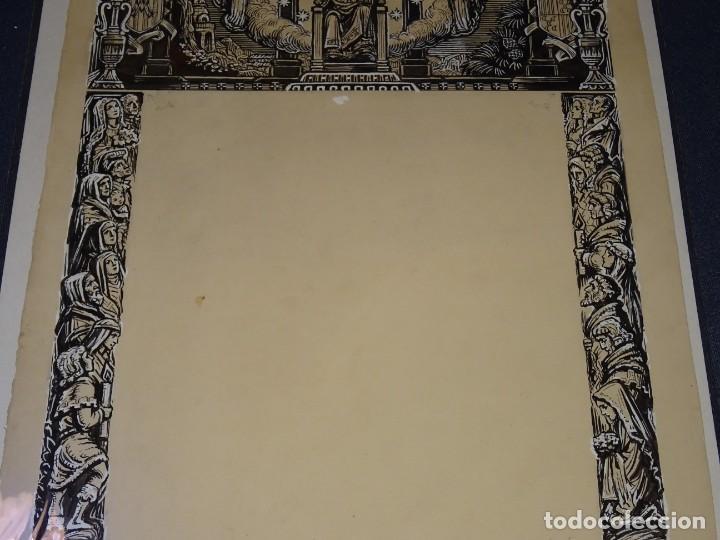 Arte: (M) DIBUJO ORIGINAL GOIG - GOZOS NUESTRA SEÑORA DE QUERALT , ILUSTRADO POR FAROLL 48 X 34 CM. - Foto 3 - 265497969