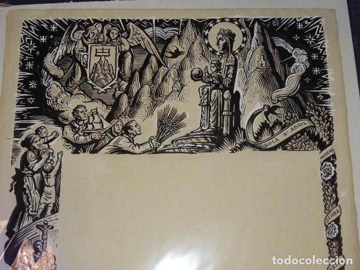 (M) DIBUJO ORIGINAL DEL GOZO DE LA VIRGEN DE MONTSERRAT S.XX, 47X33 CM, BUEN ESTADO (Arte - Arte Religioso - Pintura Religiosa - Otros)