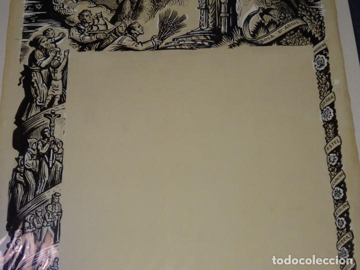 Arte: (M) DIBUJO ORIGINAL DEL GOZO DE LA VIRGEN DE MONTSERRAT S.XX, 47X33 CM, BUEN ESTADO - Foto 2 - 265498364