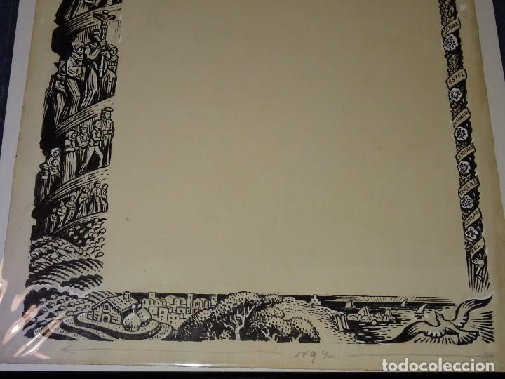 Arte: (M) DIBUJO ORIGINAL DEL GOZO DE LA VIRGEN DE MONTSERRAT S.XX, 47X33 CM, BUEN ESTADO - Foto 3 - 265498364