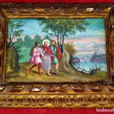 Arte: JESÚS Y LOS DISCÍPULOS DE EMAÚS. PINTURA SOBRE PAPEL. MARCO ANTIGUO. ESPAÑA. SIGLO XVIII-XIX. Lote 265499229