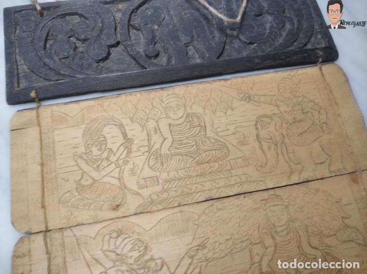 Arte: ANTIGUO MANUSCRITO DE ORACIONES BUDISTAS - GRABADOS EN HOJAS DE BAMBÚ Y MADERA (VIDA BUDA) - Foto 3 - 265538954