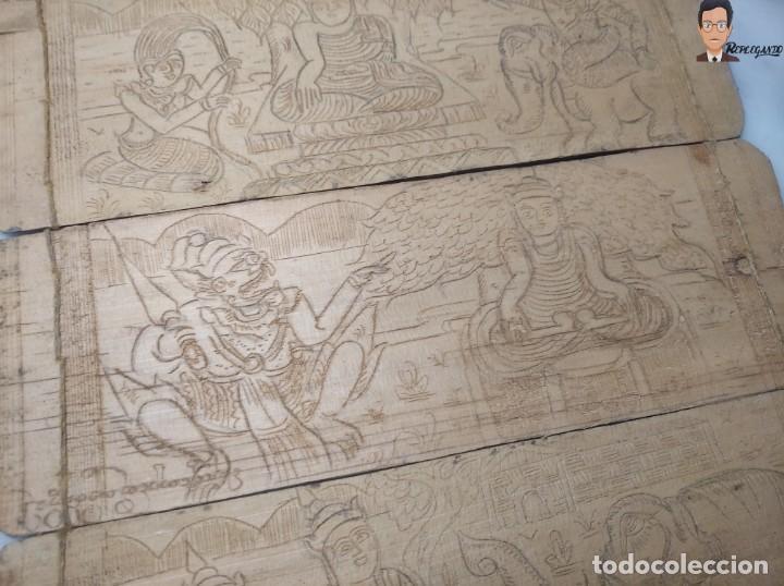 Arte: ANTIGUO MANUSCRITO DE ORACIONES BUDISTAS - GRABADOS EN HOJAS DE BAMBÚ Y MADERA (VIDA BUDA) - Foto 4 - 265538954