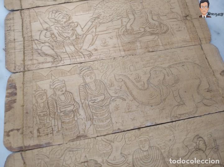 Arte: ANTIGUO MANUSCRITO DE ORACIONES BUDISTAS - GRABADOS EN HOJAS DE BAMBÚ Y MADERA (VIDA BUDA) - Foto 5 - 265538954