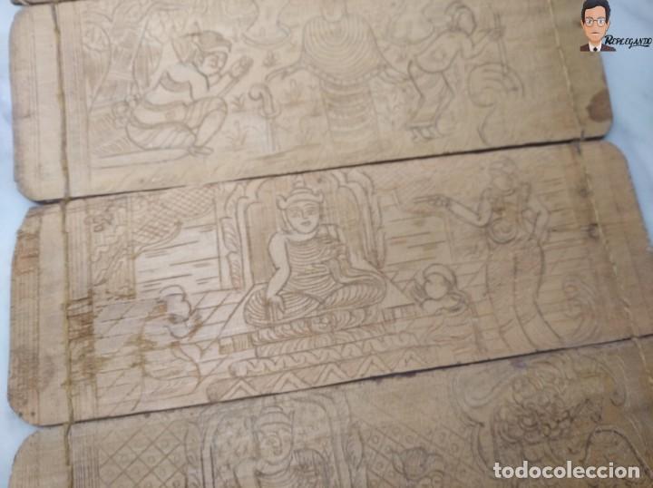 Arte: ANTIGUO MANUSCRITO DE ORACIONES BUDISTAS - GRABADOS EN HOJAS DE BAMBÚ Y MADERA (VIDA BUDA) - Foto 7 - 265538954