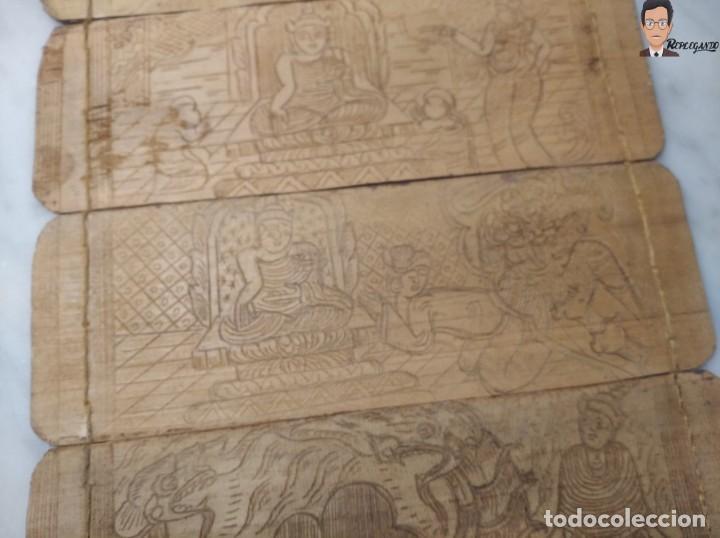 Arte: ANTIGUO MANUSCRITO DE ORACIONES BUDISTAS - GRABADOS EN HOJAS DE BAMBÚ Y MADERA (VIDA BUDA) - Foto 8 - 265538954