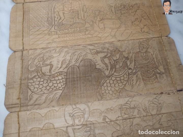 Arte: ANTIGUO MANUSCRITO DE ORACIONES BUDISTAS - GRABADOS EN HOJAS DE BAMBÚ Y MADERA (VIDA BUDA) - Foto 9 - 265538954
