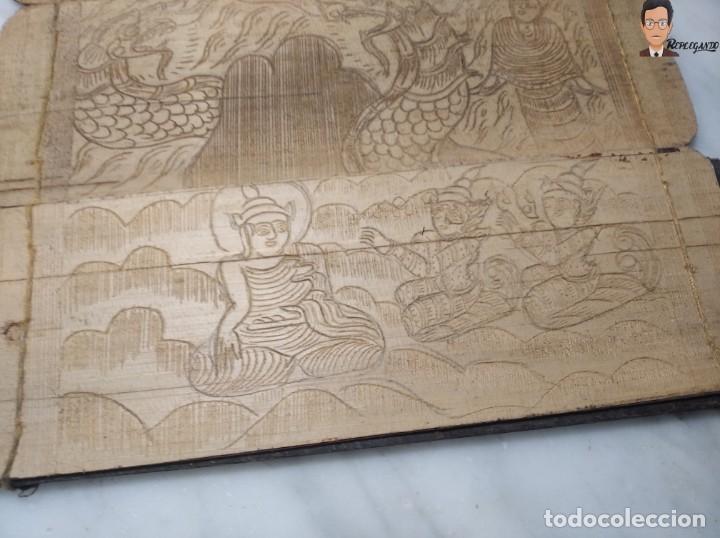 Arte: ANTIGUO MANUSCRITO DE ORACIONES BUDISTAS - GRABADOS EN HOJAS DE BAMBÚ Y MADERA (VIDA BUDA) - Foto 10 - 265538954