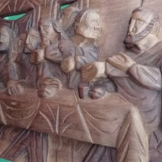 Art: RETABLO EN RELIEVE, DE LA ÚLTIMA CENA EN MADERA MEDIDAS 80 X 30 CMS ,HECHO A MANO.. Lote 265655054