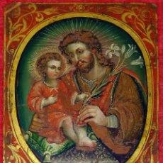 Kunst: SAN JOSÉ Y EL NIÑO JESÚS. ÓLEO SOBRE COBRE. ANÓNIMO. ESPAÑA. SIGLO XVIII. Lote 265756644