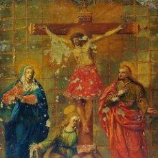 Arte: JESÚS EN EL CALVARIO, CON MARIA, SAN JUAN Y LA MAGDALENA. ÓLEO SOBRE COBRE. ANÓNIMO. ESPAÑA. XVIII. Lote 265775159