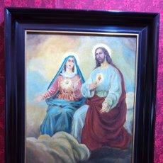 Arte: SAGRADO CORAZÓN DE JESÚS Y MARIA. Lote 266016133