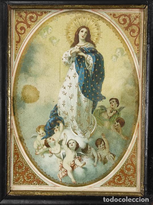 BONITA LÁMINA RELIGIOSA - VIRGEN INMACULADA - MARCO ORIGINAL - S. XIX (Arte - Arte Religioso - Pintura Religiosa - Otros)