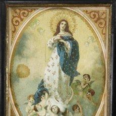 Arte: BONITA LÁMINA RELIGIOSA - VIRGEN INMACULADA - MARCO ORIGINAL - S. XIX. Lote 266234888